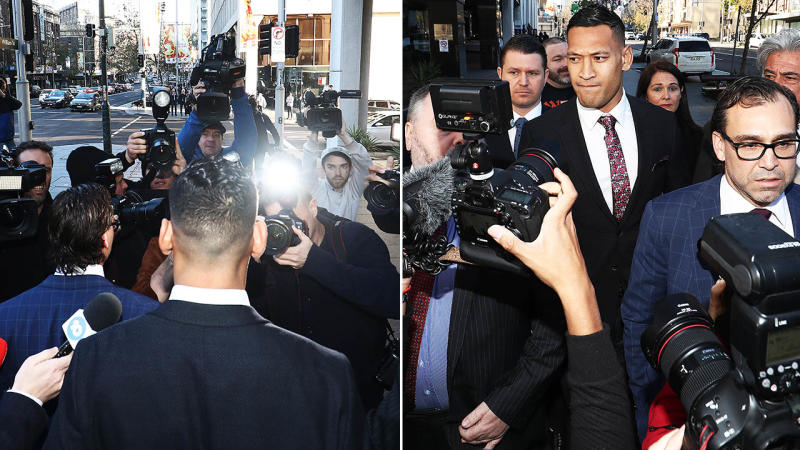 Israel Folau was mobbed as he arrived at the Fair Work Commission. Image: Getty