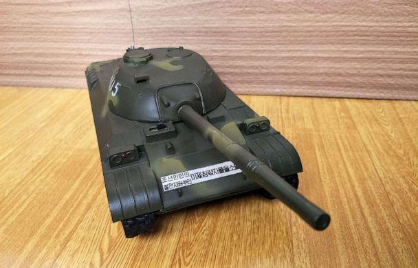 PHOTO: A toy tank with a slogan that reads, 'Annihilate the American Imperialists,' purchased in Pyongyang, North Korea. (Courtesy Alek Sigley)