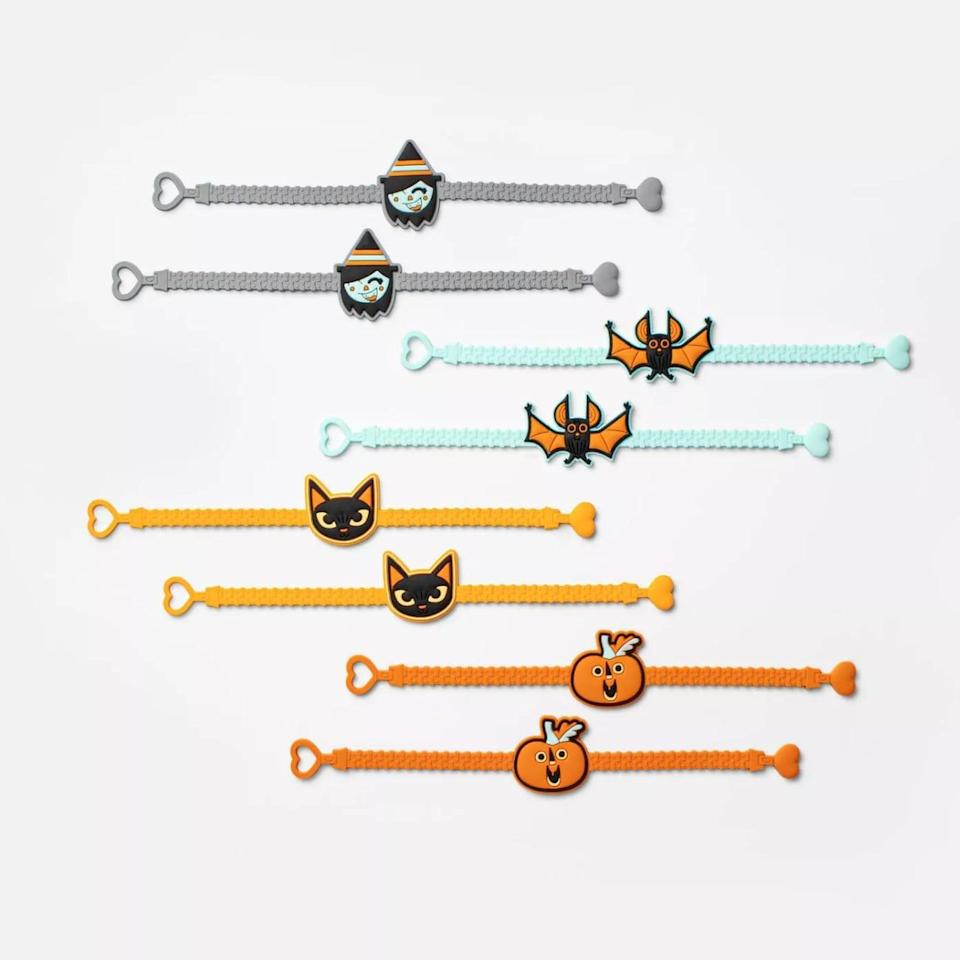 <p>Little ones can take their pick of pumpkins, witches, cats, or bats thanks to this set of <span>Hyde & EEK! Boutique 8-Count of Rubber Cord Halloween Bracelets </span> ($3).</p>