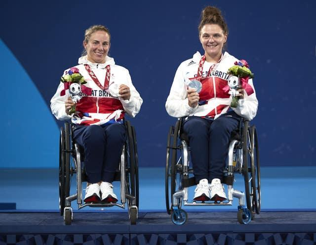 Lucy Shuker and Jordanne Whiley were on the wheelchair tennis doubles podium for a third successive Games