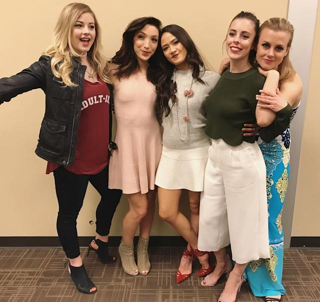 <p>Madison has a great relationship with the other American women of skating, with whom she toured as part of 'Stars on Ice.' She's pictured here bonding with fellow Olympians (left to right): Gracie Gold (Sochi), Meryl Davis (Vancouver & Sochi), Ashley Wagner (Sochi) and Madison Hubbell (PyeongChang). (Instagram/@chockolate02) </p>