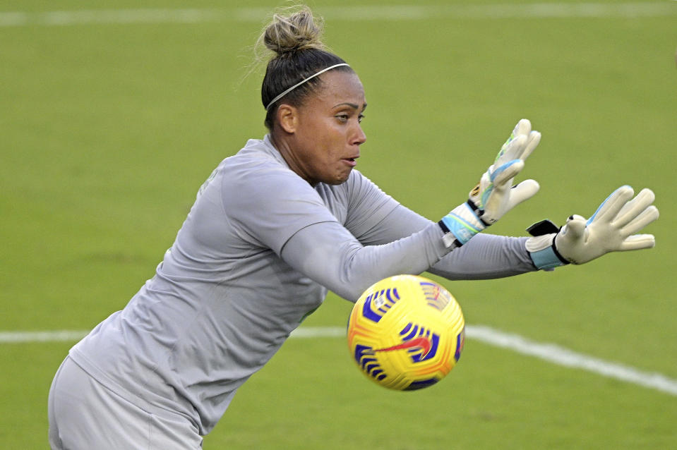 Brazil goalkeeper Barbara blocks a shot during the second half of a SheBelieves Cup women's soccer match against Canada, Wednesday, Feb. 24, 2021, in Orlando, Fla. (AP Photo/Phelan M. Ebenhack)
