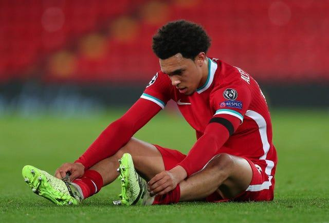 Trent Alexander-Arnold reacts to defeat against Real Madrid