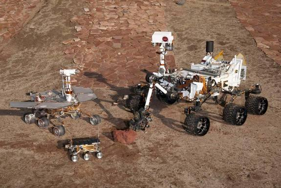 NASA's Sample Return Challenge aims to make robots capable of navigating and retrieving samples by themselves. This image shows the space agency's past rovers (smallest to largest): Sojourner, Mars Exploration Rover and Curiosity.