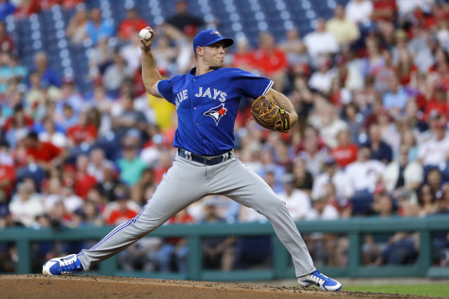 Toronto Blue Jays' Sam Gaviglio pitches during the second inning of a baseball game against the Philadelphia Phillies, Friday, May 25, 2018, in Philadelphia. (AP Photo/Matt Slocum)