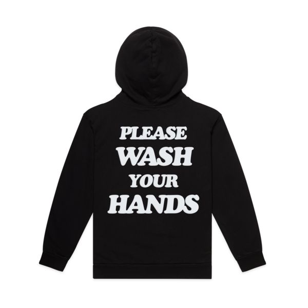 "The ""Please Wash Your Hands"" hoodie by Talentless. Available in five colours."