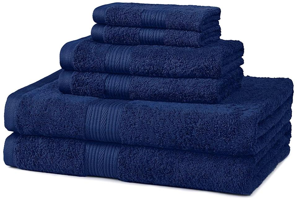 <p>People on a budget will love the <span>Amazon Basics Fade-Resistant 6-Piece Cotton Towel Set</span> ($25). The large set comes in seven colors and includes six towels. Customers are so happy with these that over 40,000 have reviewed the set on Amazon.</p>