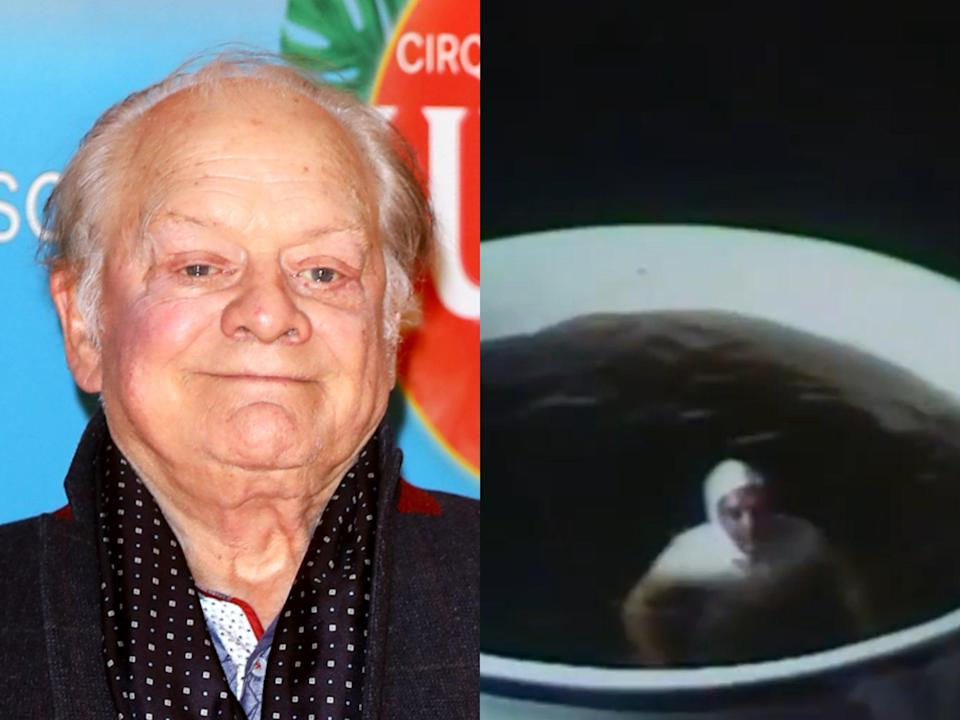 David Jason in 2020 (left) and as glimpsed in the 1977 advert for PG Tips (right) (Getty/PG Tips)