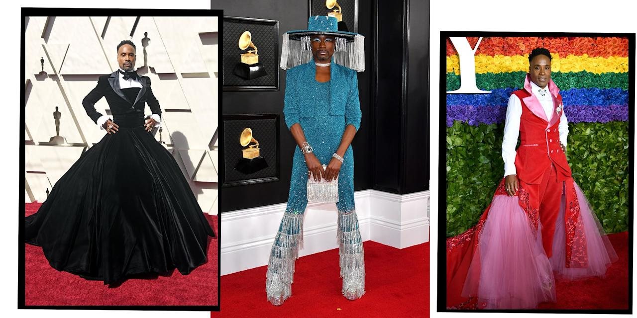 "<p><a href=""https://www.elle.com/uk/fashion/celebrity-style/a29053514/billy-porter-london-fashion-week/"" target=""_blank"">Billy Porter</a> and his <a href=""https://www.elle.com/uk/fashion/"" target=""_blank"">fashion</a> are the gifts that keep on giving. </p><p>Known most recently for his leading role in Ryan Murphy's TV masterpiece <a href=""https://www.elle.com/uk/life-and-culture/elle-voices/a26745725/pose-tv-show-importance-transgender-community/"" target=""_blank"">Pose</a>, Porter is also a Broadway legend, having won a Tony for his role as Lola in Kinky Boots, and also appearing in Dream Girls, Grease, Smokey Joe's Café, Five Guys Named Moe and Miss Saigon.</p><p>Since shooting to celebrity stardom with Pose in 2018, the 50-year-old has also become a style icon in his own right rivalling red carpet looks courtesy of Lady Gaga, whose <a href=""https://www.elle.com/uk/fashion/celebrity-style/articles/g11248/gaga-s-meat-dress-tops-2010-fashion-statements/"" target=""_blank"">meat dress</a> turns pale in comparison to Porter's<a href=""https://www.elle.com/uk/fashion/celebrity-style/g27305413/met-gala-2019-dresses/"" target=""_blank""> 2019 Met Gala</a> entrance. Ahead of the event, which was themed 'Camp: Notes on Fashion', the actor channeled Pharaoh god Ra and was carried onto the red carpet by six shirtless men decorated in gold-coloured paint. </p><p>According to <a href=""https://www.vanityfair.com/style/2020/01/billy-porter-grammys-2020-red-carpet-hat"" target=""_blank"">Vanity Fair,</a> the actor's stylist Sam Ratelle estimates that they've worked on 150 red carpet looks together, many designed by Porter himself. </p><p>For the star, custom is king (because where else can you source a motorised crystal fringe hat for the <a href=""https://www.elle.com/uk/fashion/g30672026/grammy-awards-best-red-carpet-looks-dresses/"" target=""_blank"">Grammys</a>?) and understated is not in his vocabulary.</p><p><strong>Here are some of Billy Porter's best looks: </strong></p>"