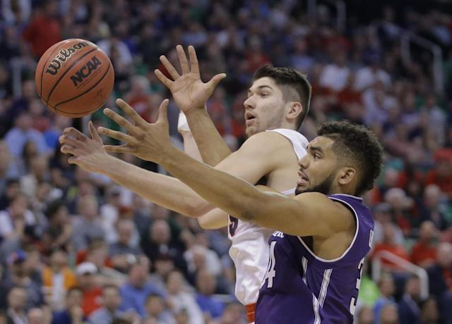 <p>Gonzaga forward Killian Tillie, left, and Northwestern guard Sanjay Lumpkin (34) battle for a rebound during the second half of a second-round college basketball game in the men's NCAA Tournament Saturday, March 18, 2017, in Salt Lake City. (AP Photo/Rick Bowmer) </p>