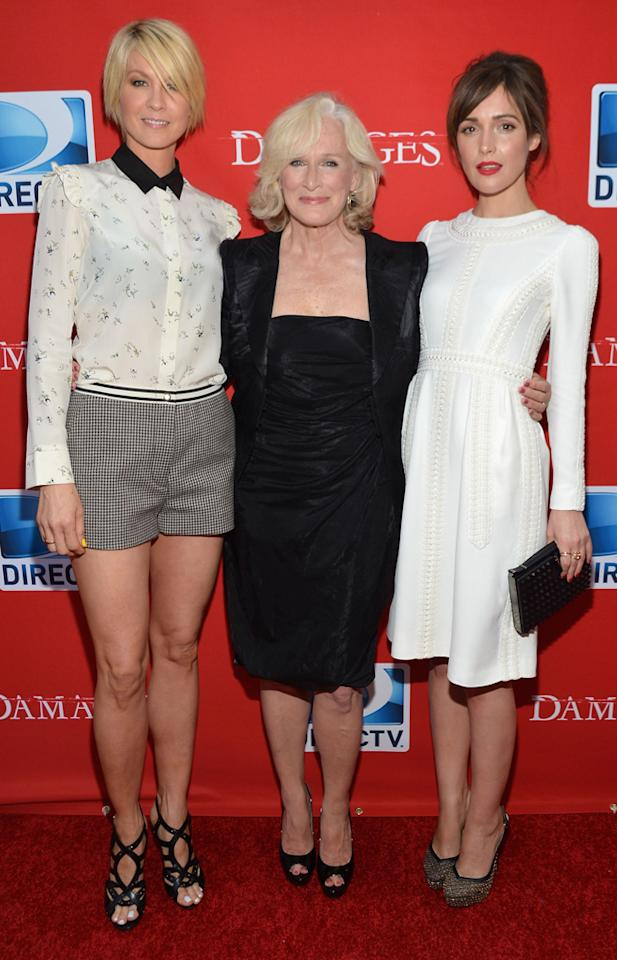 "Jenna Elfman, Glenn Close, and Rose Byrne attend The DirecTV premiere for the fifth and final season of ""Damages"" at Paris Theater on June 28, 2012 in New York City."