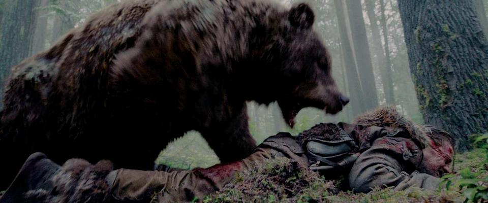 The bear tears into Leonardo DiCaprio's back in 'The Revenant'. (Credit: 20th Century Fox)