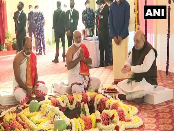 Union Home Minister Amit Shah at an event in Karnataka. (Photo/ANI)