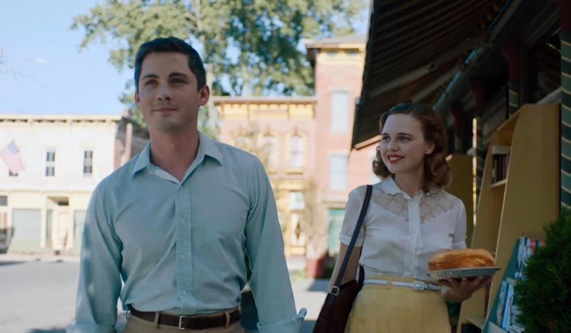 "This image released by Neon shows Logan Lerman, left, and Odessa Young in a scene from ""Shirley."" (Neon via AP)"