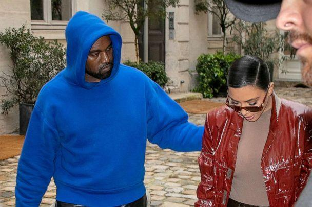 PHOTO: Kim Kardashian West and Kanye West walk in Paris, March 02, 2020. (Marc Piasecki/GC Images, FILE)