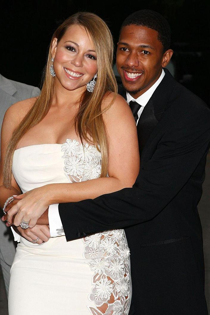 """<p>They may have known each other for a few years, but they only dated for a few weeks before marrying in the Bahamas in 2008, according to <em><a href=""""https://www.eonline.com/news/585824/nick-cannon-files-for-divorce-from-mariah-carey-after-6-years-of-marriage-report"""" rel=""""nofollow noopener"""" target=""""_blank"""" data-ylk=""""slk:E! News"""" class=""""link rapid-noclick-resp"""">E! News</a></em>. As far as celeb marriages go, theirs lasted six years (a good run!), but they divorced in 2014.</p>"""