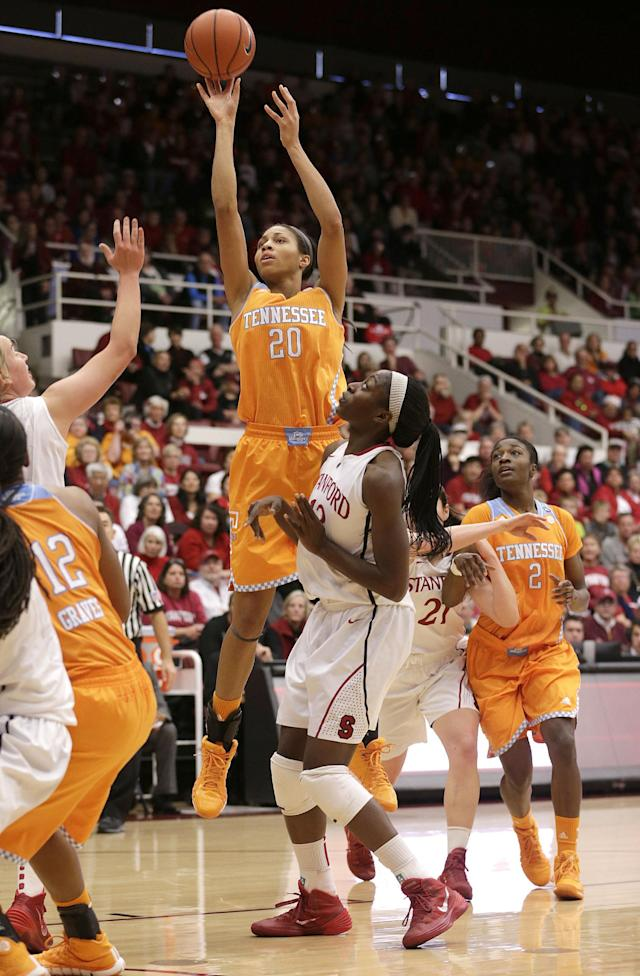 Tennessee center Isabelle Harrison (20) pulls up for a shot against Stanford forward Chiney Ogwumike (13) during the first half of an NCAA women's college basketball game, Saturday, Dec. 21, 2013, in Stanford, Calif. (AP Photo/Tony Avelar)