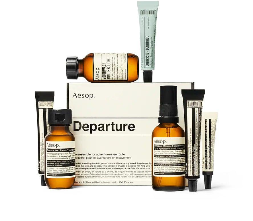 """<h2>Aesop Departure Kit</h2><br>If we've learned one thing from the pandemic, it's that our hands get down and dirty. Skip the extra-dry airport bathroom soap and bring along Aesop's Departure Kit instead. This mini-beauty spa includes seven bestselling Aesop products to keep yourself so fresh and so clean.<br><br><em>Shop</em> <strong><em><a href=""""https://www.aesop.com/"""" rel=""""nofollow noopener"""" target=""""_blank"""" data-ylk=""""slk:Aesop"""" class=""""link rapid-noclick-resp"""">Aesop</a></em></strong><br><br><br><br><strong>Aesop</strong> https://www.aesop.com/us/p/kits-travel/travel/departure, $, available at <a href=""""https://go.skimresources.com/?id=30283X879131&url=https%3A%2F%2Fwww.aesop.com%2Fus%2Fp%2Fkits-travel%2Ftravel%2Fdeparture%2F"""" rel=""""nofollow noopener"""" target=""""_blank"""" data-ylk=""""slk:Aesop"""" class=""""link rapid-noclick-resp"""">Aesop</a>"""