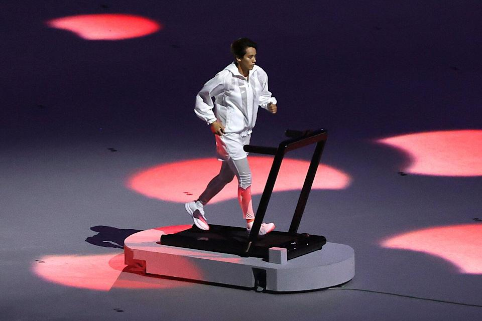 Arisa Tsubata at the opening ceremony of the Tokyo 2020 Summer Olympic Games