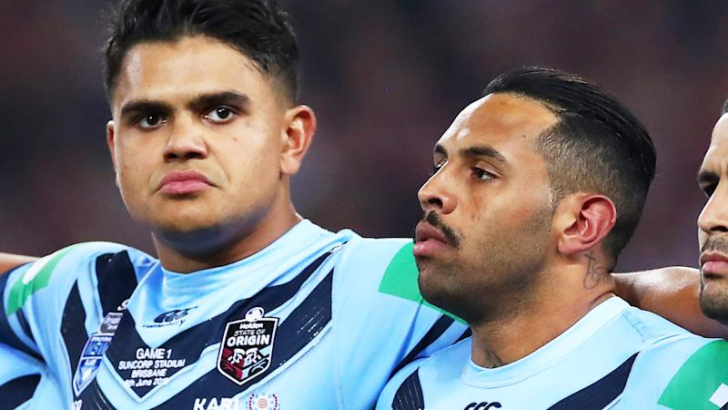 Latrell Mitchell and Josh-Addo Carr during the State of Origin series. (Photo by Cameron Spencer/Getty Images)