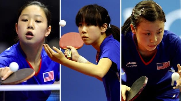 Lily Zhang, Erica Wu and Ariel Hsing are the U.S. table tennis team — Getty Images