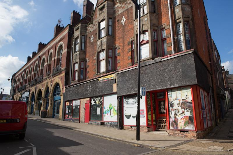 Empty shops in Queen Street, Market Place in Burslem - the UK's 'ghost town' capital (SWNS.com)