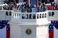 WASHINGTON, DC - JANUARY 20: U.S. President Joe Biden delivers his inaugural address on the West Front of the U.S. Capitol on January 20, 2021 in Washington, DC. During today's inauguration ceremony Joe Biden becomes the 46th president of the United States. (Photo by Rob Carr/Getty Images)