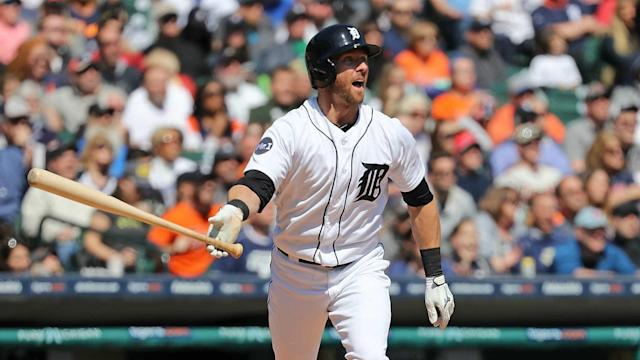 The veteran utility player belted just the seventh homer of his eight-year career Wednesday.
