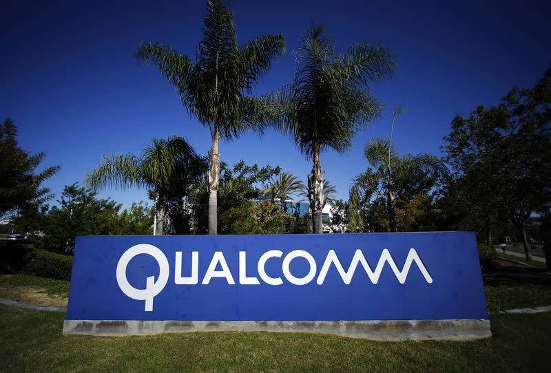 File photo of a Qualcomm sign in front of one of its many buildings in San Diego, California