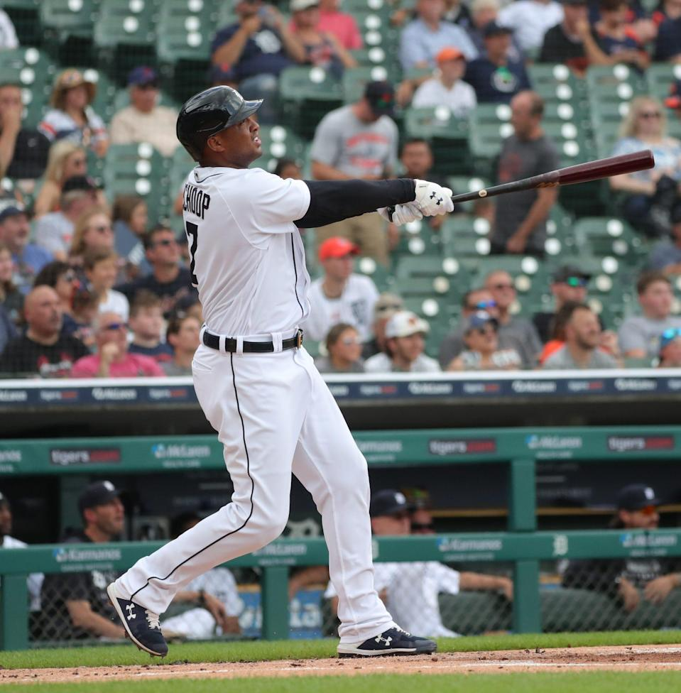 Detroit Tigers second baseman Jonathan Schoop (7) bats against Houston Astros starting pitcher Jake Odorizzi (not pictured) during first inning action Sunday, June 27, 2021 at Comerica Park in Detroit.