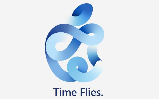 "A stylised logo of a blue thread weaving around itself in coils to form an Apple logo, with the legend: ""Time Flies."" - Apple"