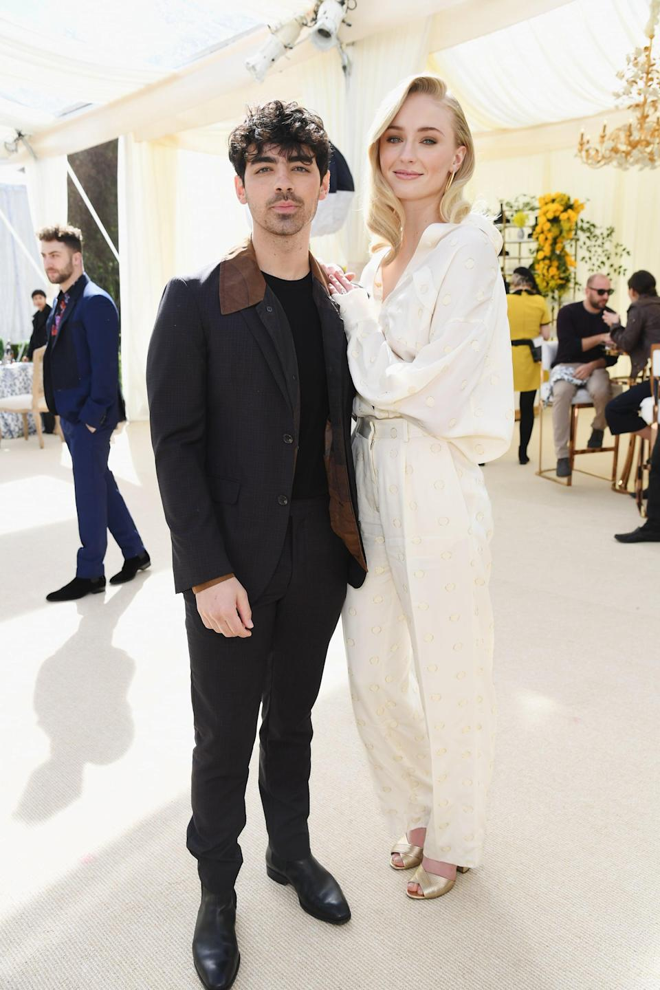 "<p>The Jonas Brothers singer and <strong>Game of Thrones</strong> actress are <a href=""https://www.popsugar.com/celebrity/sophie-turner-pregnant-with-first-child-47212794"" class=""link rapid-noclick-resp"" rel=""nofollow noopener"" target=""_blank"" data-ylk=""slk:reportedly expecting their first child together"">reportedly expecting their first child together</a>, though the couple have yet to confirm the news. </p>"