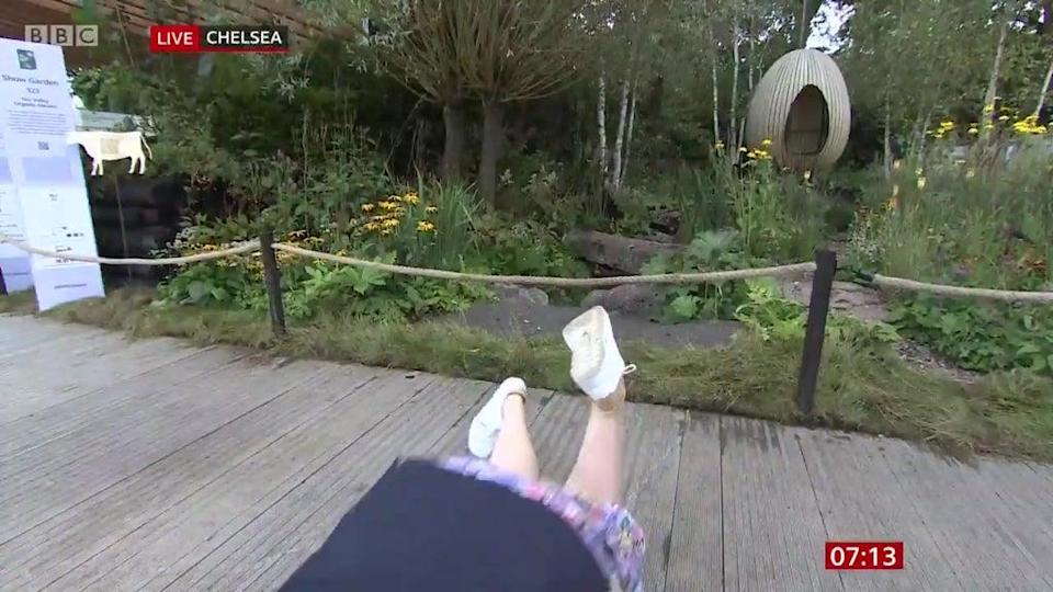 Kirkwood's feet quickly loomed into view as she toppled forward (BBC Breakfast)