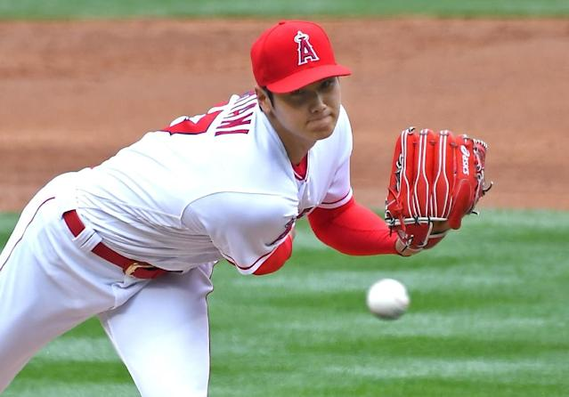 Shohei Ohtani of the Los Angeles Angels of Anaheim was again impressive on the mound striking out nine in 7 2/3 solid innings in a 5-2 victory over the Tampa Bay Rays (AFP Photo/Jayne Kamin-Oncea)