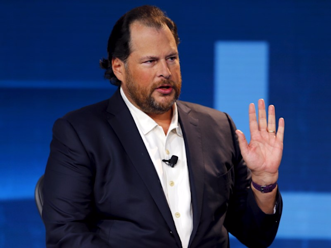 Marc Benioff, chairman and CEO of Salesforce speaks at the Wall Street Journal Digital Live ( WSJDLive ) conference at the Montage hotel in Laguna Beach, California October 20, 2015.</p> <p> REUTERS/Mike Blake