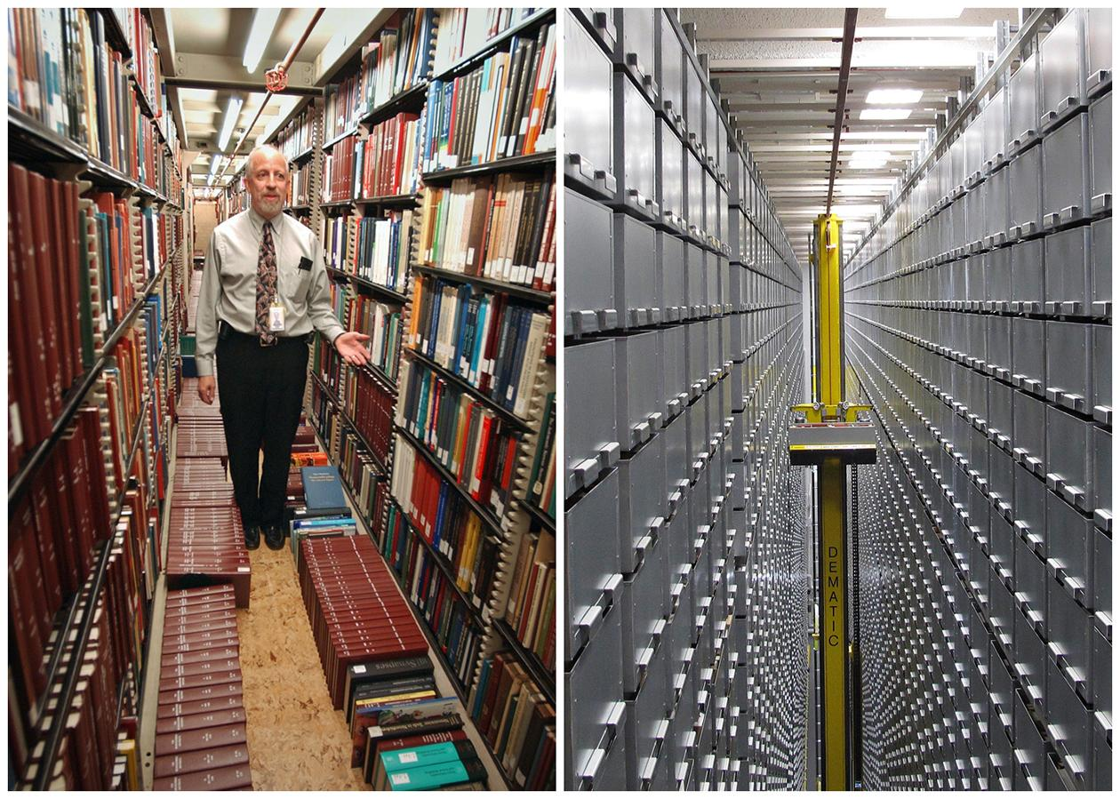 """This combination of Associated Press file photos shows Steven Herman, left, head of the Library of Congress storage facility, at the Library of Congress in 2003, in Washington,  and left, a """"bookBot"""", an automated retrieval system at the James B. Hunt Jr. Library at North Carolina State University in 2013, in Raleigh, N.C. Many middle-class workers have lost jobs because powerful software and computerized machines are doing tasks that only humans could do before."""