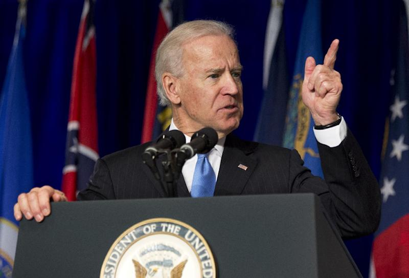 Vice President Joe Biden gestures as he speaks at the Winter-Spring meeting of the National Association of Attorneys General, Wednesday, Feb. 27, 2013, in Washington.   (AP Photo/Manuel Balce Ceneta)