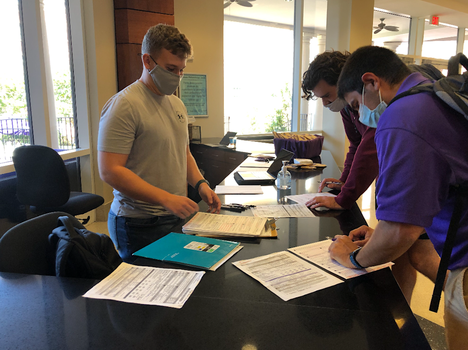 Students register to vote on National Voter Registration Day at High Point University in North Carolina.