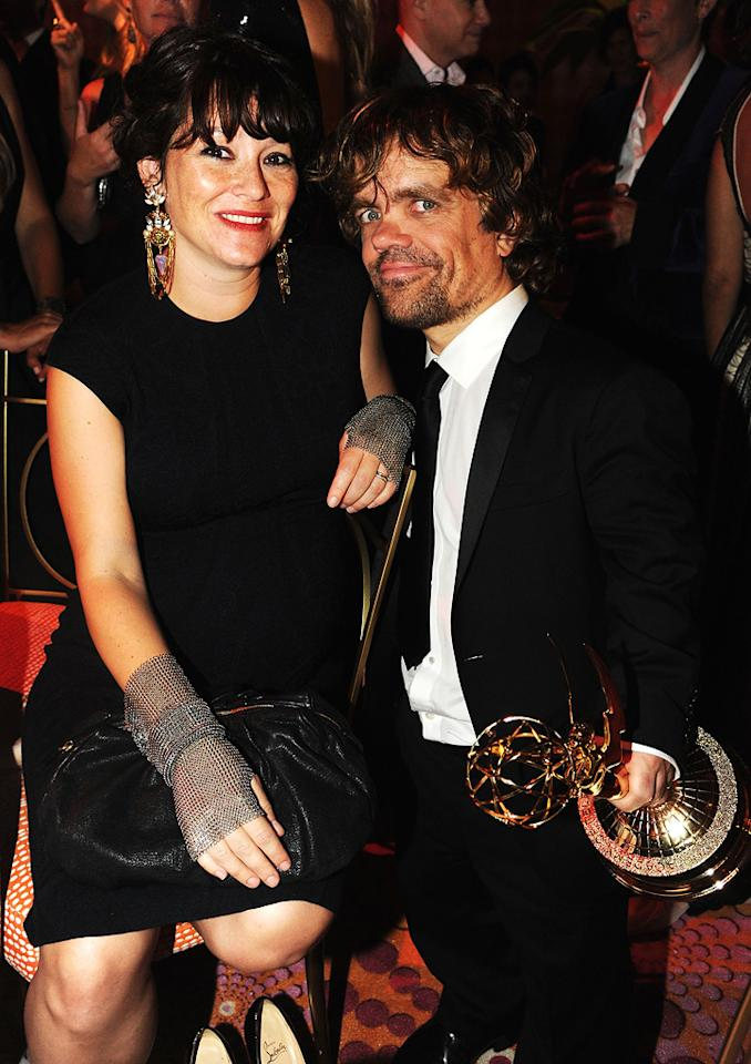 "Outstanding Supporting Actor in a Drama Series winner Peter Dinklage (""Game of Thrones"") was accompanied to the HBO party by his wife of six years, theater director Erica Schmidt. Jeff Kravitz/<a href=""http://www.filmmagic.com/"" target=""new"">FilmMagic.com</a> - September 18, 2011"