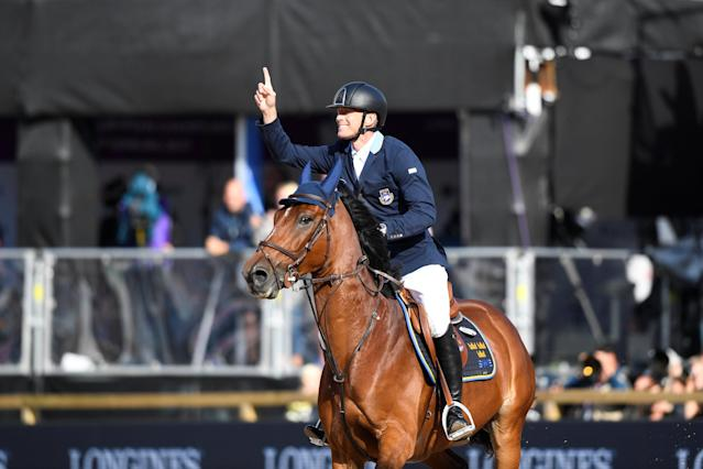 Equestrian - FEI European Championships 2017 - Jumping Individual Final - Ullevi Stadium, Gothenburg, Sweden - August 27, 2017 - Peder Fredricson of Sweden on his horse H&M All In celebrates. TT News Agency/Pontus Lundahl via REUTERS ATTENTION EDITORS - THIS IMAGE WAS PROVIDED BY A THIRD PARTY. SWEDEN OUT. NO COMMERCIAL OR EDITORIAL SALES IN SWEDEN