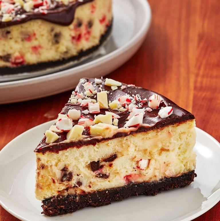 """<p>With a Oreo crust and ganache topping this is our favourite cheesecake to make for Christmas. It's <a href=""""https://www.delish.com/uk/cooking/recipes/a29685389/homemade-peppermint-bark-recipe/"""" rel=""""nofollow noopener"""" target=""""_blank"""" data-ylk=""""slk:peppermint bark"""" class=""""link rapid-noclick-resp"""">peppermint bark</a> in cheesecake form and we can't get enough! </p><p>Get the <a href=""""https://www.delish.com/uk/cooking/recipes/a30166842/chocolate-peppermint-cheesecake-recipe/"""" rel=""""nofollow noopener"""" target=""""_blank"""" data-ylk=""""slk:Chocolate Peppermint Cheesecake"""" class=""""link rapid-noclick-resp"""">Chocolate Peppermint Cheesecake</a> recipe.</p>"""