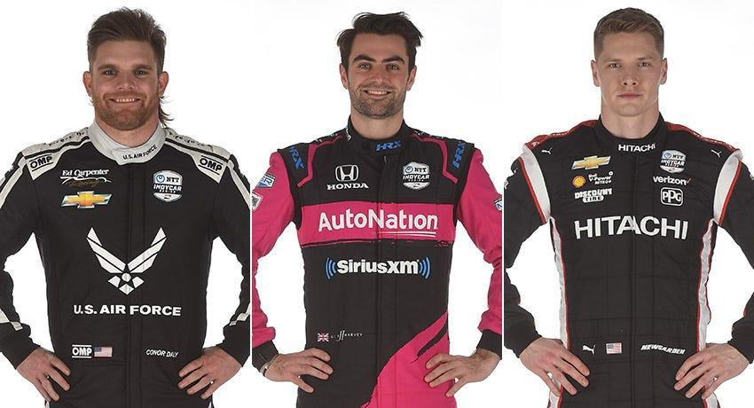 Conor Daly (from left), Jack Harvey and Josef Newgarden, Row 7 for the 2021 Indianapolis 500.