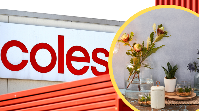 Pictured: Coles supermarket front and Coles' new homewares range. Images: AAP, Coles