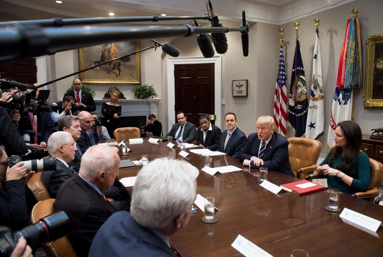 """<span class=""""s1"""">President Trump speaks during a meeting on prison reform at the White House on Jan. 11. (Photo: Saul Loeb/AFP/Getty Images)</span>"""