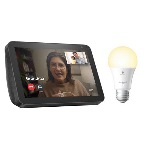 Amazon Echo Show 8 & Sengled A19 Smart Bluetooth LED Light Bulb. Image via Best Buy.