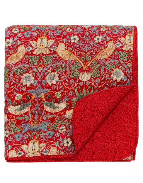 "No discussion about cottagecore and homeware is complete without talking about William Morris prints, is it? This bedspread is on the expensive side so it's definitely more of an investment but the bold colourway and timeless pattern make it well worth the cash.<br><br><strong>Morris & Co.</strong> Strawberry Thief Bedspread, Red, $, available at <a href=""https://www.johnlewis.com/morris-co-strawberry-thief-bedspread/charcoal-blush/p4209175"" rel=""nofollow noopener"" target=""_blank"" data-ylk=""slk:John Lewis"" class=""link rapid-noclick-resp"">John Lewis</a>"