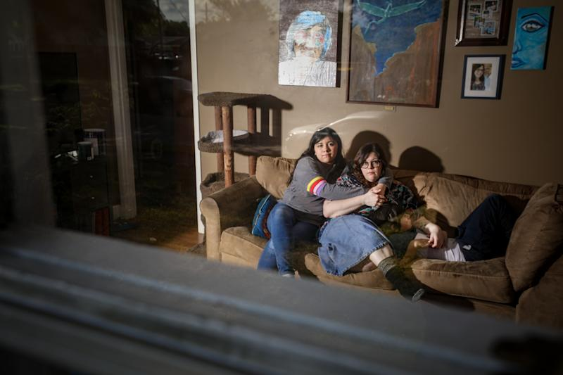 Teresa Ibarra, a furloughed worker in Memphis, with her children.