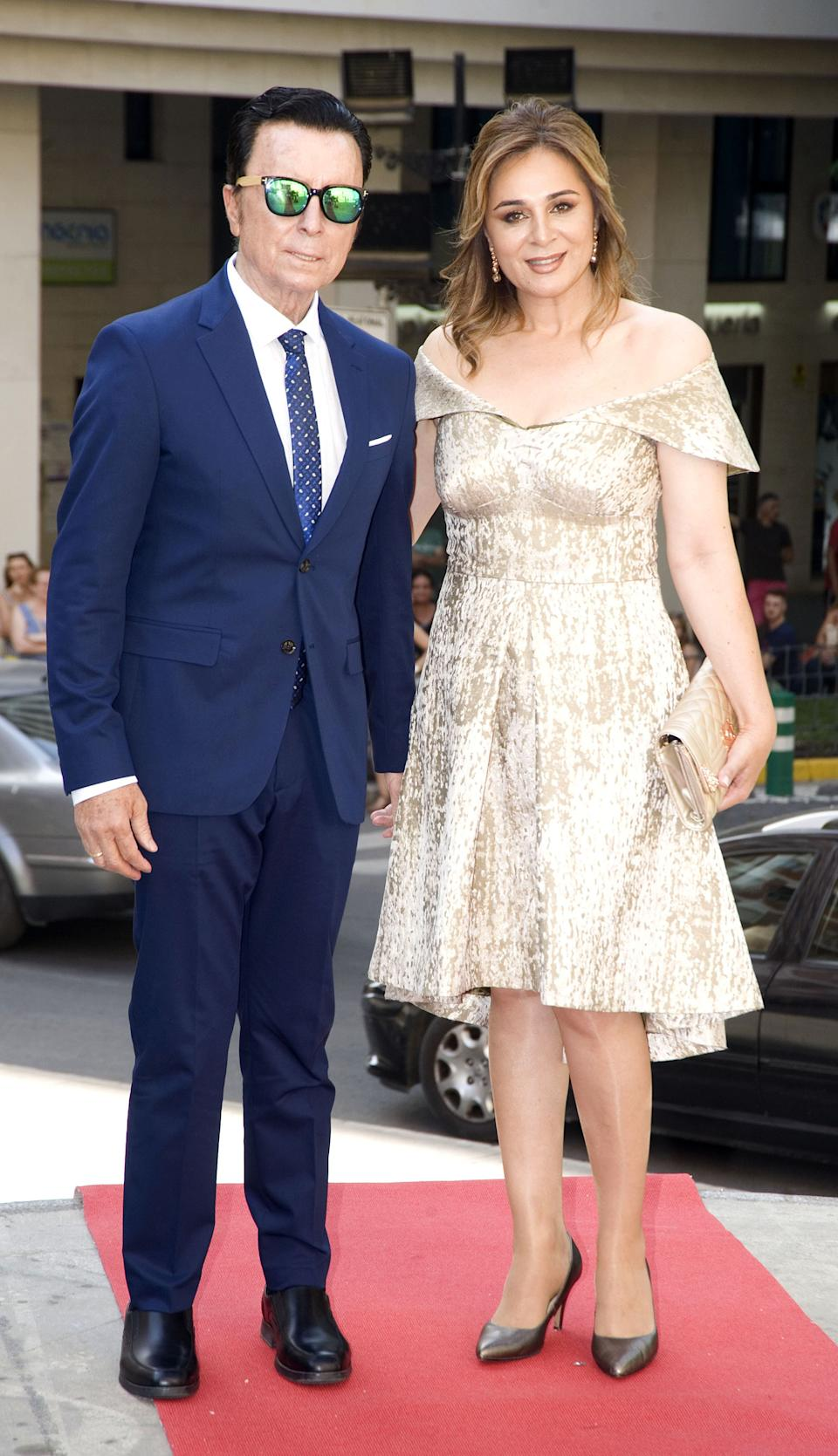 ALBACETE, SPAIN - JULY 05: Jose Ortega Cano and Ana Maria Aldon attend the wedding of Dámaso González Jr. And Miriam Lanza at Albacete Cathedral on July 05, 2019 in Albacete, Spain. (Photo by Europa Press Entertainment/Europa Press via Getty Images)