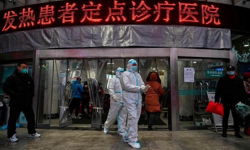 Medical staff in protective clothing at a hospital in Wuhan