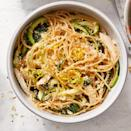 "<p>We love the combination of lemon zest and toasted breadcrumbs in this quick and easy pasta recipe for one. This healthy dinner is made with rotisserie chicken and quick-cooking spiralized zucchini and baby zucchini, so you get a complete meal in just 10 minutes. <a href=""http://www.eatingwell.com/recipe/273196/lemon-chicken-pasta/"" rel=""nofollow noopener"" target=""_blank"" data-ylk=""slk:View recipe"" class=""link rapid-noclick-resp""> View recipe </a></p>"